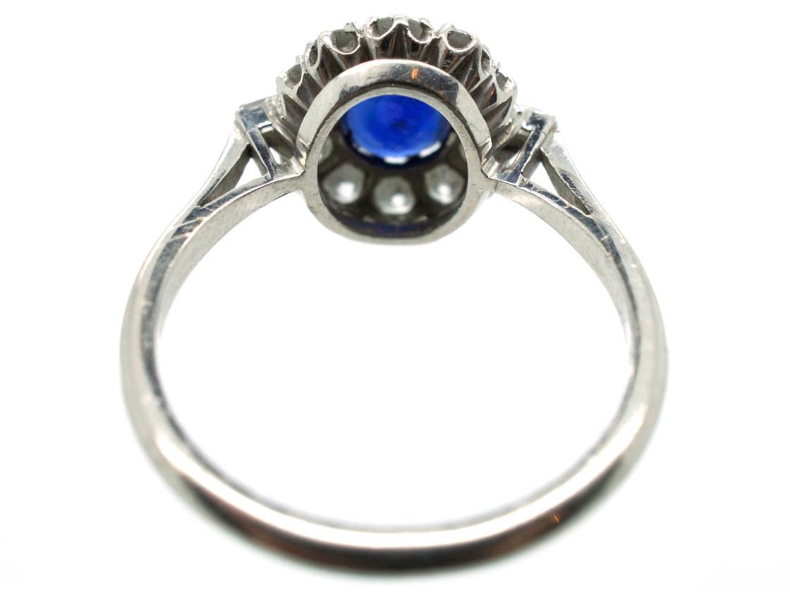 Art Deco Platinum, Diamond & Sapphire Ring