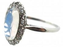 Edwardian Platinum, Moonstone & Diamond Oval Cluster Ring