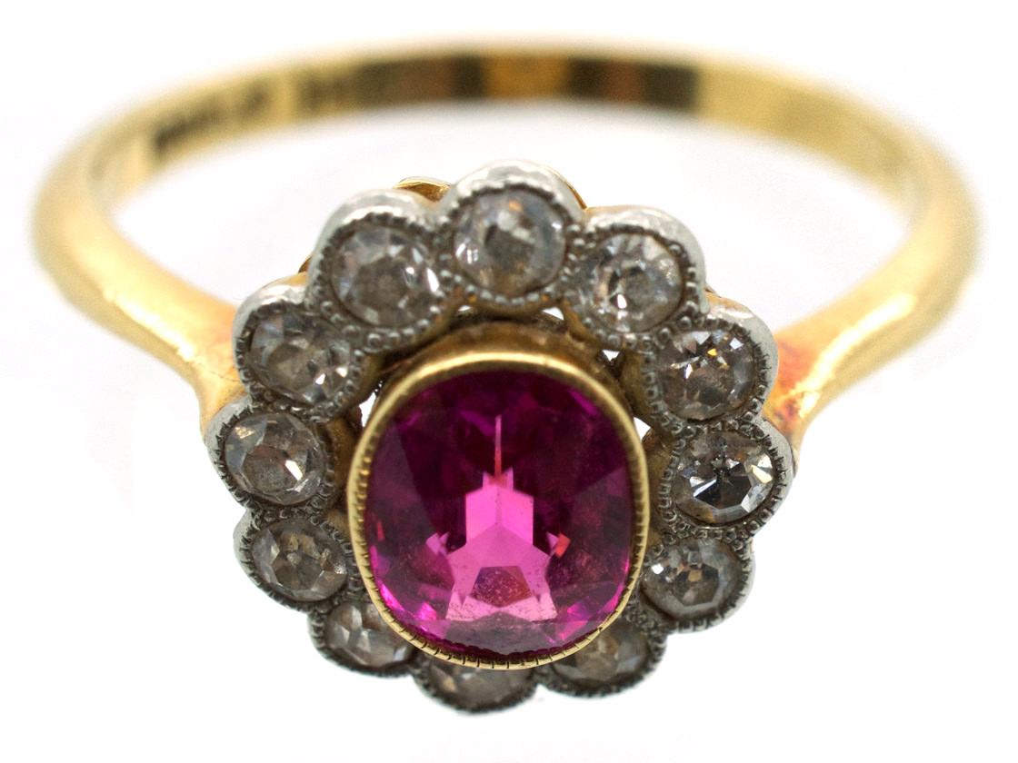 Edwardian Pink Sapphire & Diamond Cluster Ring