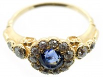 Edwardian 18ct Gold Sapphire & Diamond Cluster Ring with Diamond Shoulders
