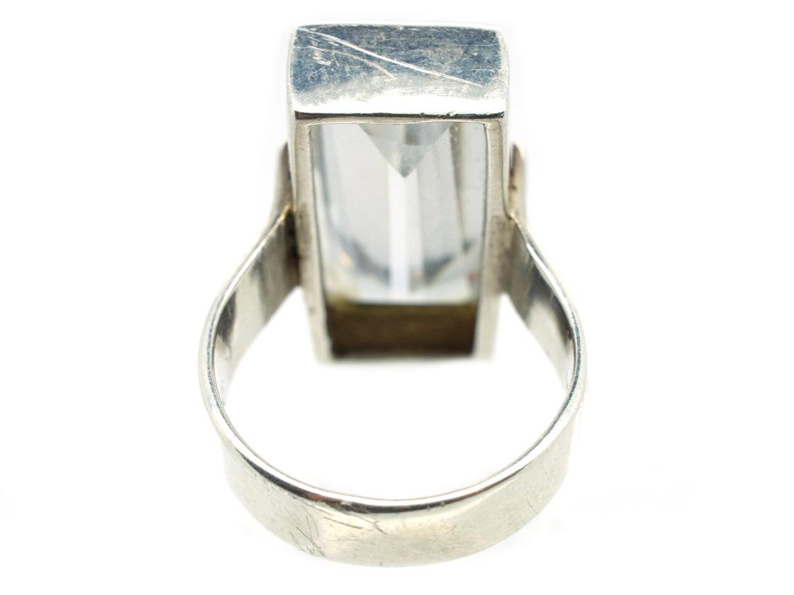 Large Rectangular Rock Crystal Silver Ring