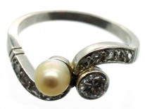Art Nouveau 18ct White Gold Diamond & Natural Pearl Crossover Ring