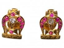 14ct Gold Ruby & Diamond Queen's English Coronation Crown Earrings