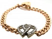 Edwardian 15ct Gold & Rose Diamond Double Heart Bracelet