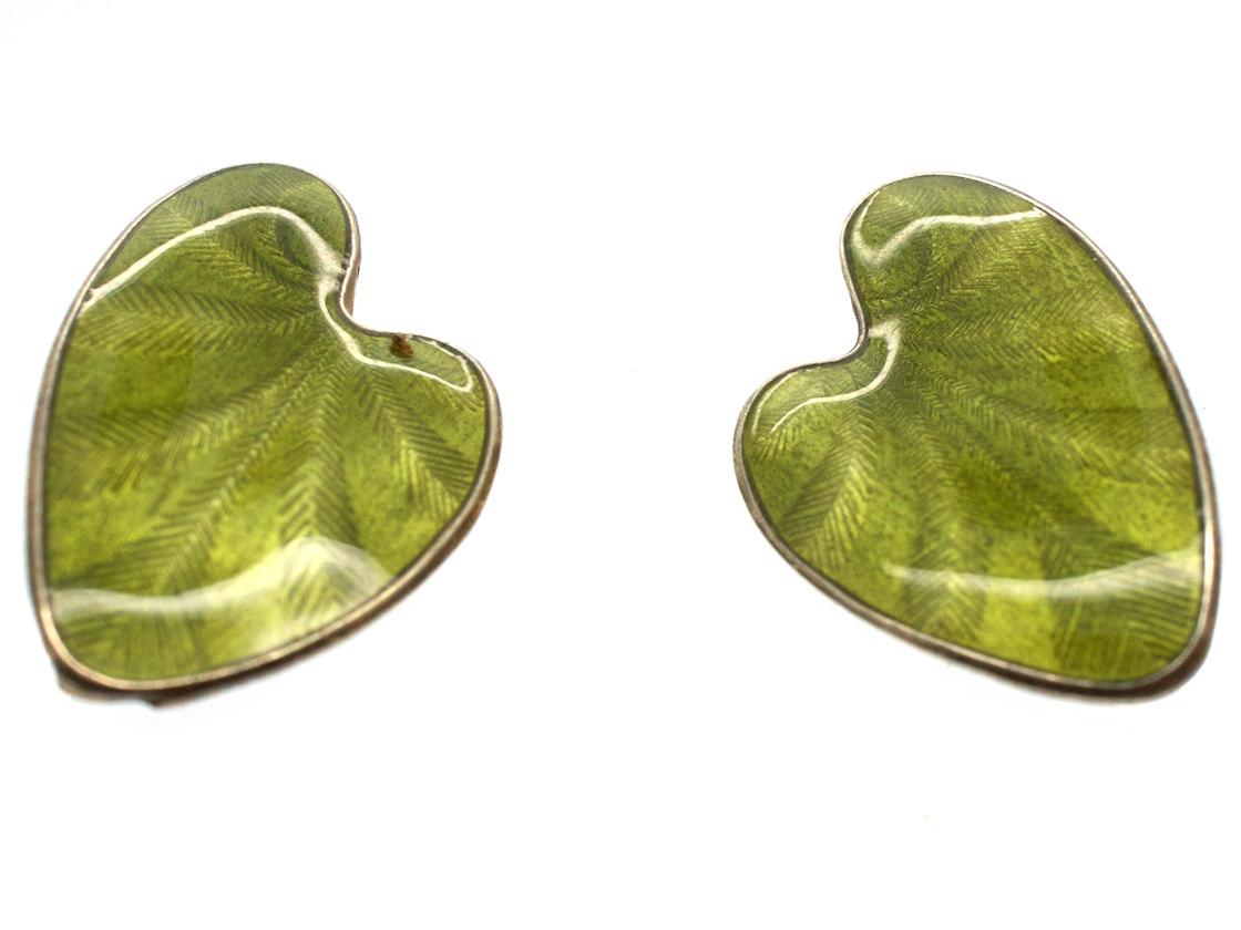 Silver Gilt Green Enamel Lily Pad Earrings by Finn Jensen