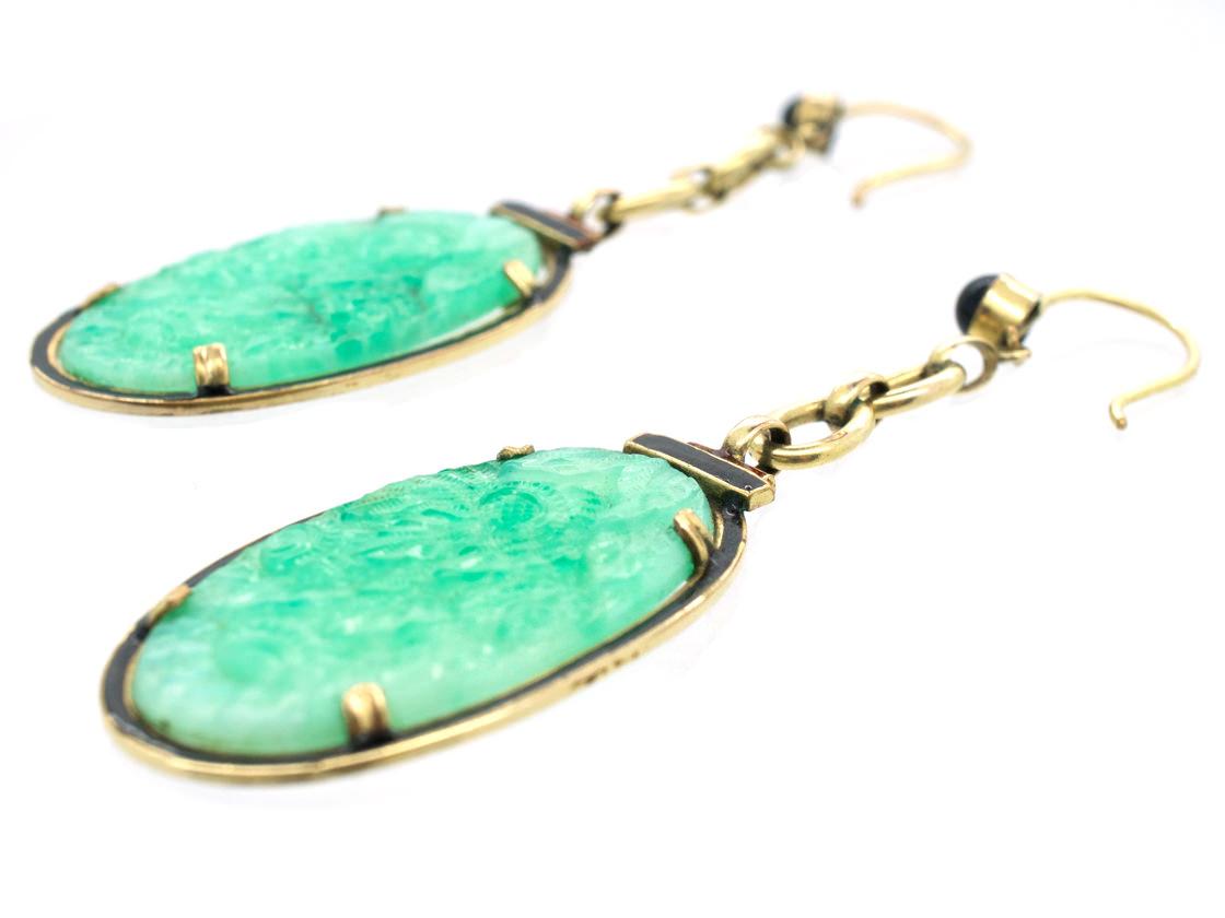 Art Deco Silver Gilt, Peking Glass, Red & Black Enamel Long Drop Earrings