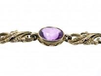 Edwardian Silver, Amethyst & Pearl Bracelet