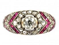 Art Deco Ruby & Diamond Chevron Design Ring