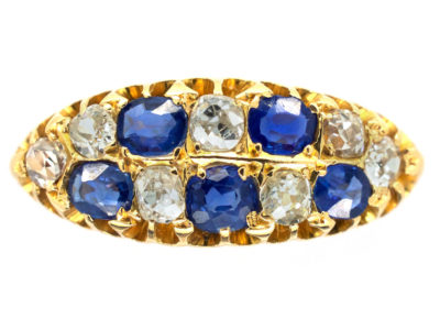 18ct Gold Edwardian Sapphire & Diamond Boat Shaped Chequerboard Ring