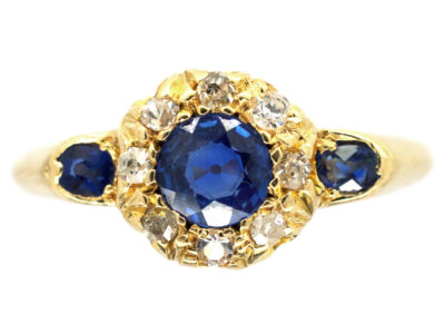 18ct Gold Edwardian Sapphire & Diamond Cluster Ring with Sapphire Shoulders
