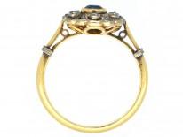 Edwardian 18ct Gold, Sapphire & Diamond Cluster Ring