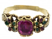 Late Georgian 15ct Gold, Ruby & Emerald Double Pansy Ring with Central Ruby