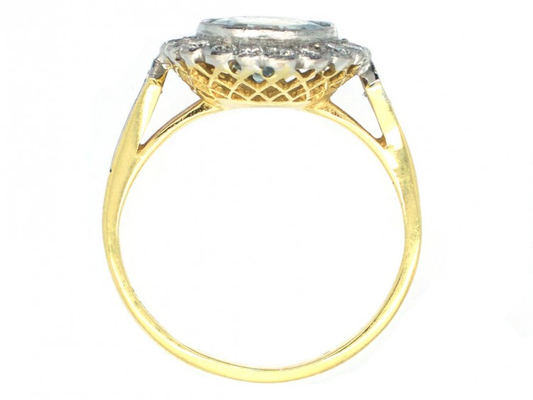 Edwardian 18ct Gold Amp Platinum Diamond Amp Aquamarine