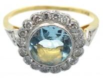 Edwardian 18ct Gold & Platinum, Diamond & Aquamarine Cluster Ring