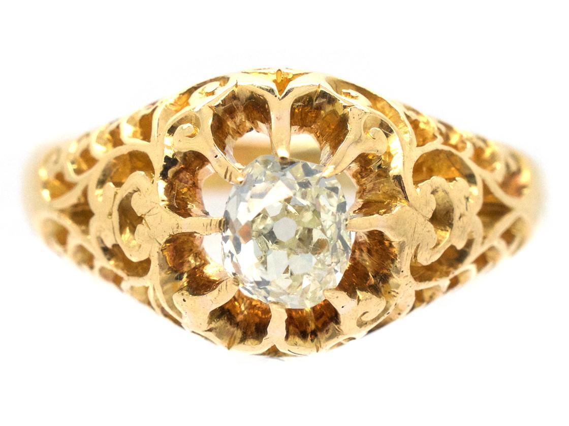 Victorian 18ct Gold & Old Mine Cut Diamond Ring