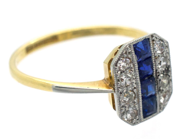18ct Gold & Platinum Art Deco Sapphire & Diamond Octagonal Ring