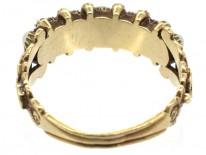 Georgian 18ct Gold Natural Split Pearls & Rubies Ring