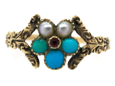 Georgian Gold, Turquoise ​& Pearl Cluster Posy Ring