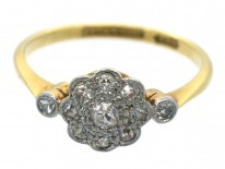 18ct Gold & Platinum Edwardian Diamond Cluster Ring with Diamond Shoulders