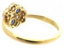 Art Deco 18ct, Platinum, Sapphire & Diamond Cluster Ring