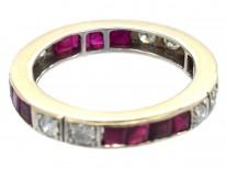 Art Deco 18ct White Gold , Diamond & Ruby Eternity Ring