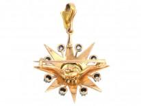 Victorian Diamond & Natural Split Pearl Star Brooch & Pendant