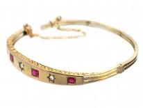 Victorian 15ct Gold, Ruby & Diamond Bangle