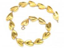 Silver & Green Enamel Lily Pad Necklace by Finn Jensen