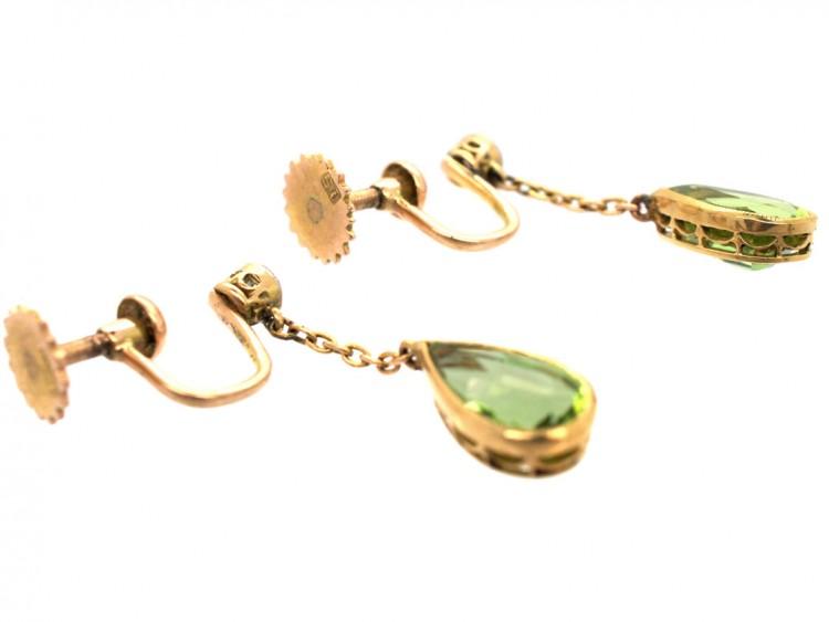 Edwardian Peridot & Diamond Drop Earrings