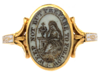 Georgian 18ct Gold Memorial Ring (Part of a Pair of Memorial Rings)