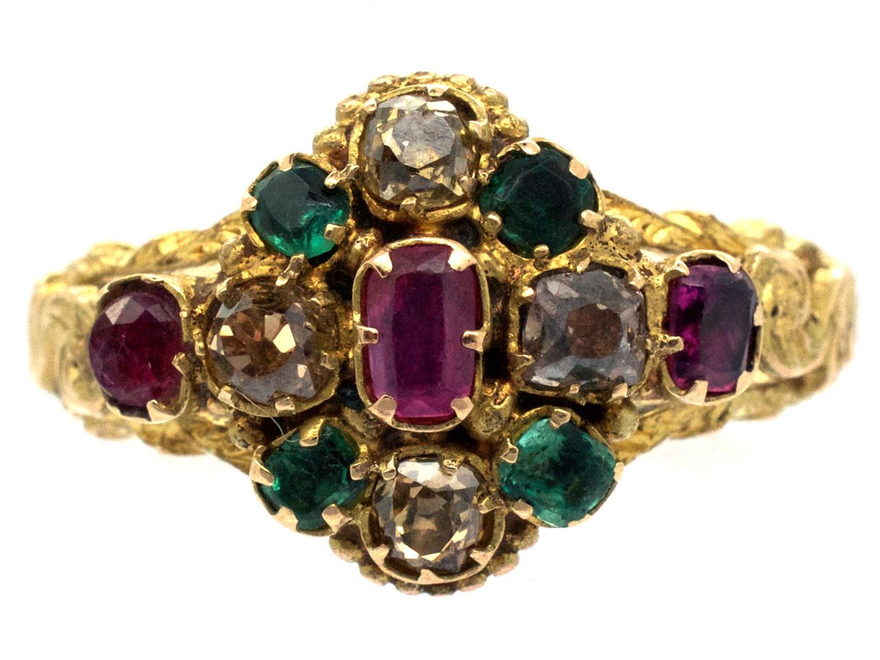Regency 15ct Gold Emerald, Ruby & Topaz Cluster Ring