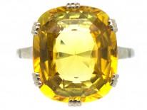 Art Deco Yellow Sapphire & White Gold Ring