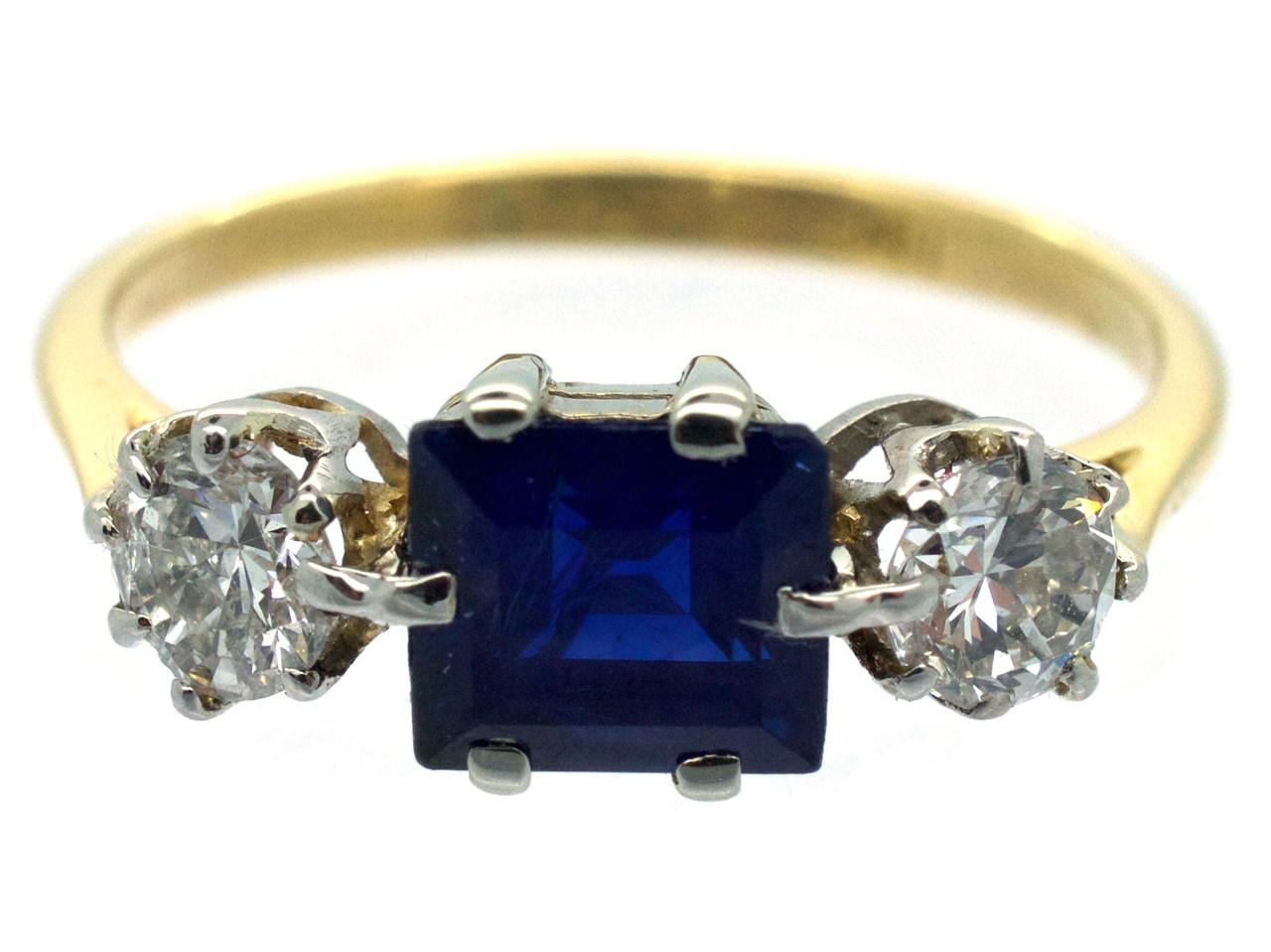 18ct Gold & Platinum Art Deco Sapphire & Diamond Three Stone Ring