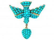Georgian 18ct Gold & Turquoise Dove of Peace Brooch with Heart Drop