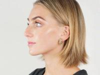 High Carat Gold Diamond Hoop Clip On Earrings