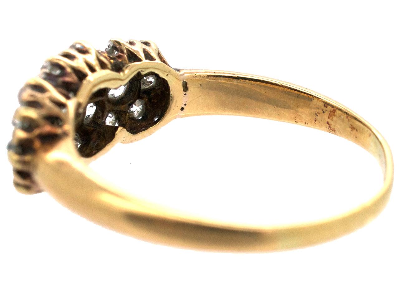 Edwardian 18ct Gold & Diamond Triple Cluster Ring