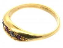 Edwardian 18ct Gold Five Stone Ruby & Diamond Ring