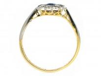 Edwardian 18ct Gold & Platinum Diamond & Sapphire Oval Cluster Ring