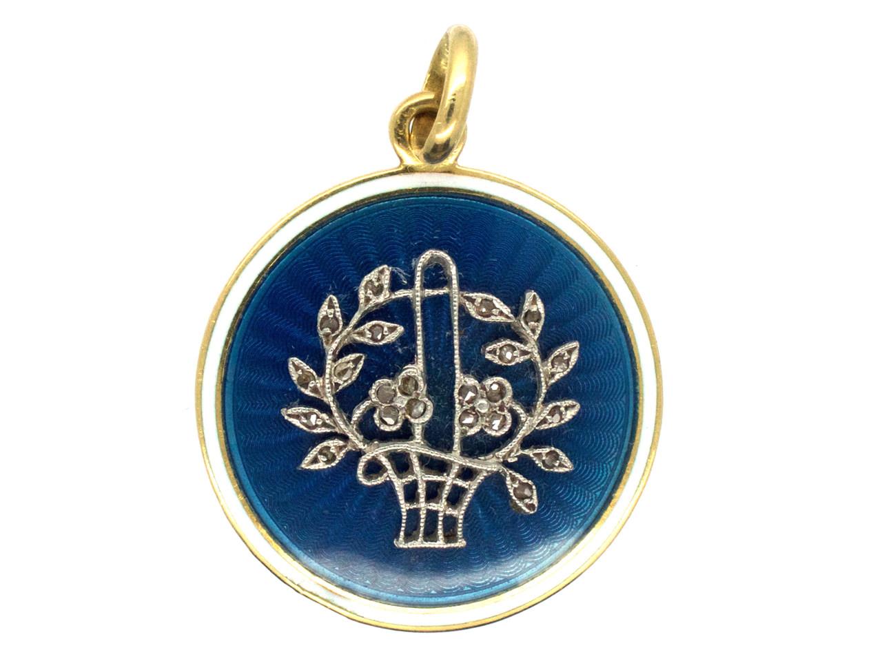 Edwardian Basket of Flowers 15ct Gold, Diamond & Enamel Round Pendant