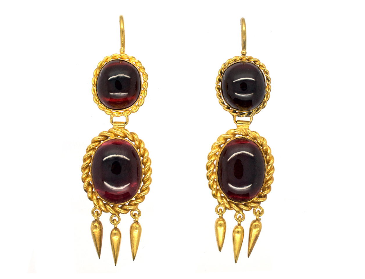 Victorian 18ct Gold & Cabochon Garnet Drop Earrings