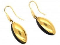 Victorian 18ct Gold & Banded Onyx Drop Earrings