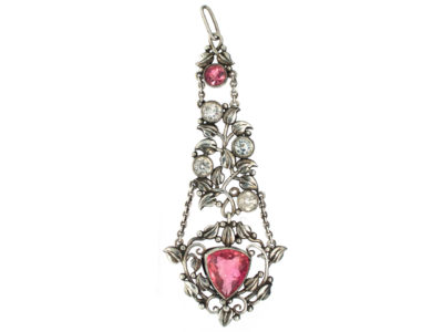 Arts & Crafts Silver Pendant set with Rock Crystal & Pink Tourmalines