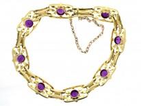 Edwardian 15ct Gold Amethyst & Pearl Bracelet