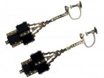 Art Deco Silver, Onyx & Marcasite Drop Earrings