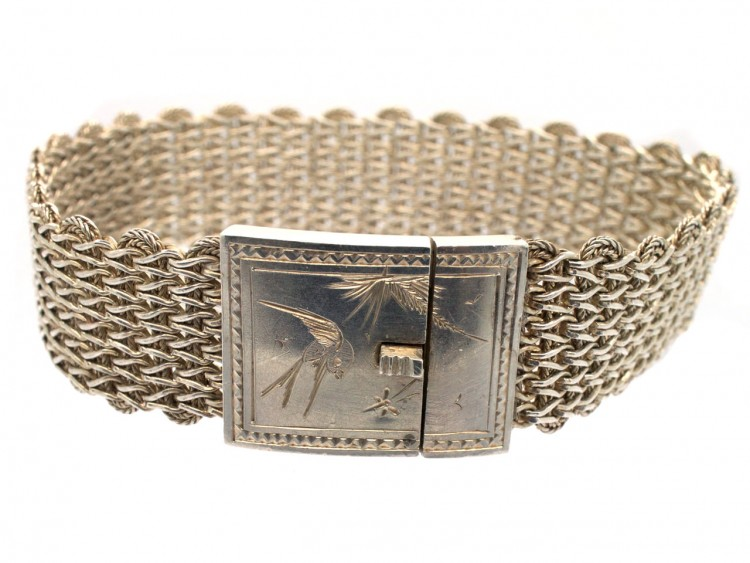 Victorian Woven Silver Bracelet with Swallow Motif Clasp