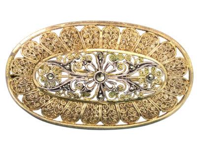 Art Deco Silver Gilt & Marcasite Brooch