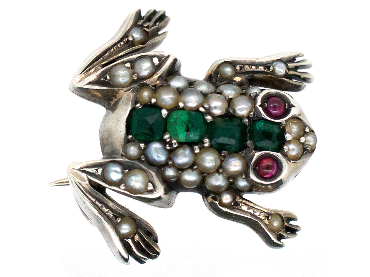 Silver & Gem Set Frog Brooch