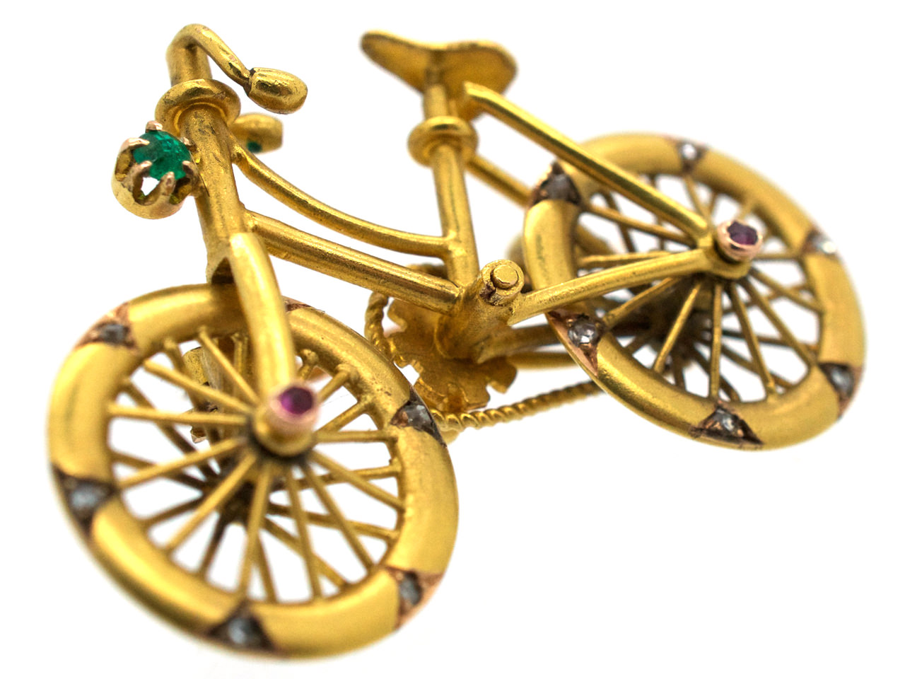 Austrian 14ct Gold & Gem Set Bicycle Brooch