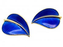 Silver Gilt Norwegian Blue Enamel Clip On Leaf Earrings