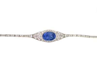 18ct Gold & Platinum Natural Ceylon Sapphire & Diamond Art Deco Bracelet